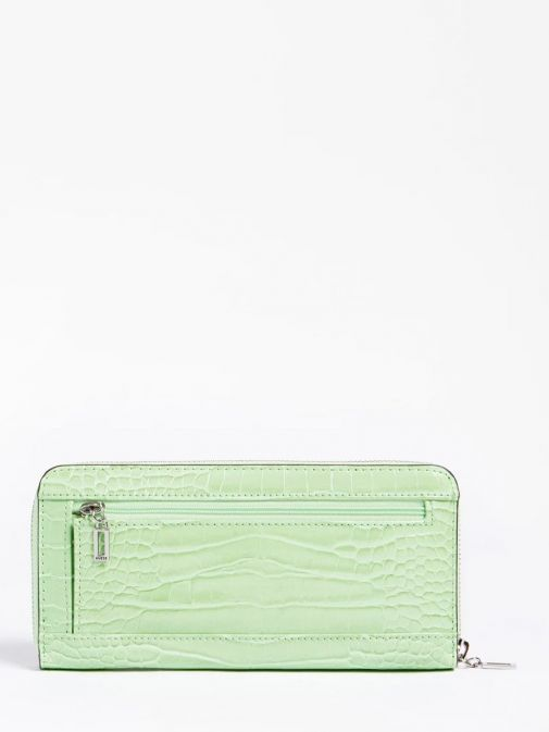back shot of the Guess Katey Maxi Wallet in the Green featuring croc print, and zip pocket