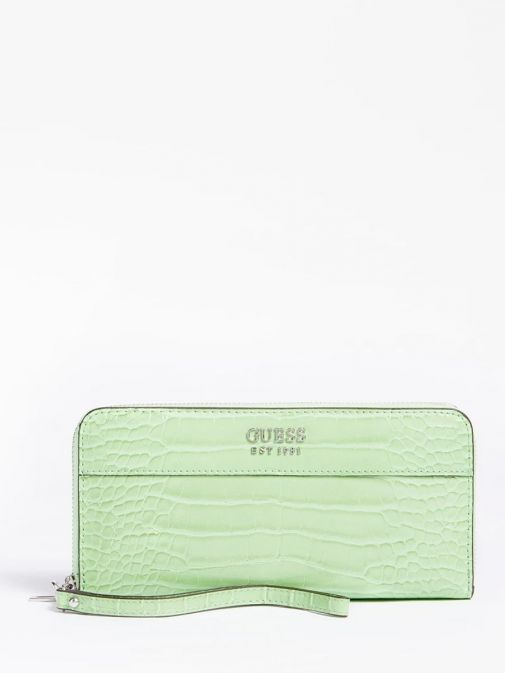 front shot of the Guess Katey Maxi Wallet in the Green featuring croc print, guess logo and zip fastening