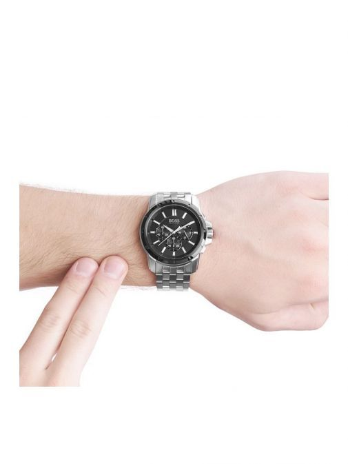 second model shot of the Hugo Boss Chronograph Watch in Silver with a black clock face