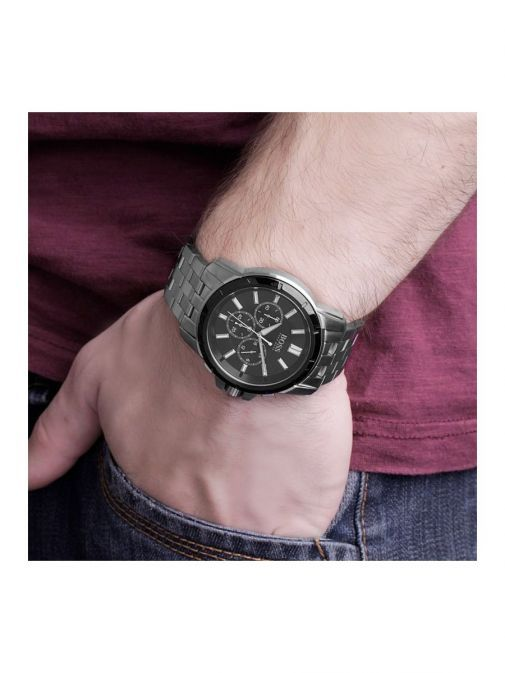 model shot of the Hugo Boss Chronograph Watch in Silver with a black clock face
