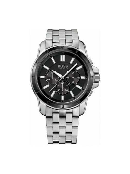 front shot of the Hugo Boss Chronograph Watch in Silver with a black clock face