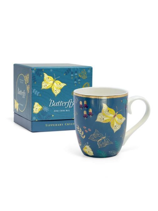 Front shot of the Tipperary Crystal Single Butterfly Mug The Brimstone