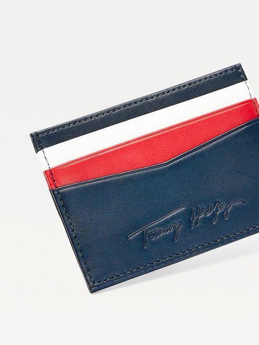 Tommy Hilfiger Men Desert Sky Signature Leather Card Holder Am0am07267/Dw5-Navy