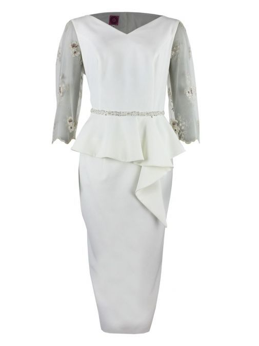 Front shot of Anoola Sheer Sleeve Peplum Hem Dress in Ivory, Style 202