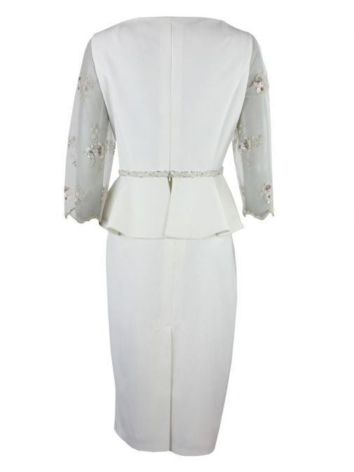 Back shot of Anoola Sheer Sleeve Peplum Hem Dress in Ivory, Style 202