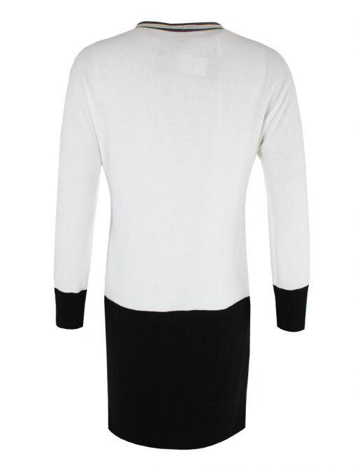 Arggido White & Black Contrast Trim Knit Tunic