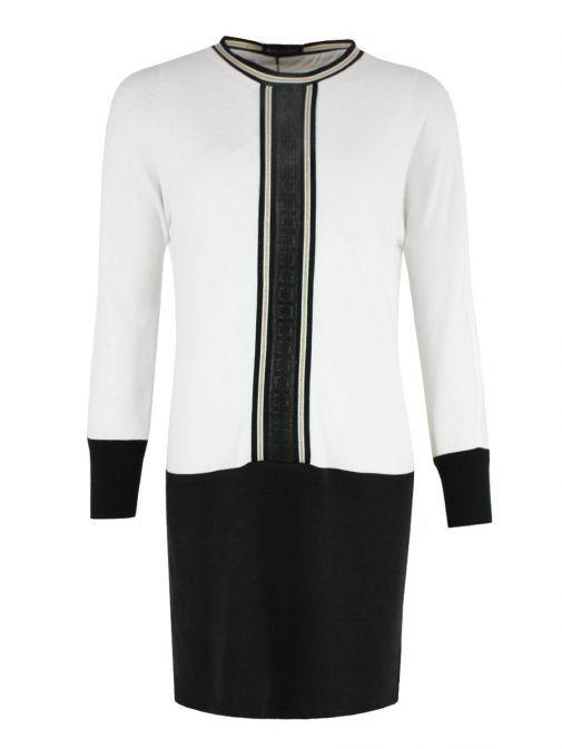 Arggido White & Black Contrast Trim Knit Tunic 43064-blanc-cream