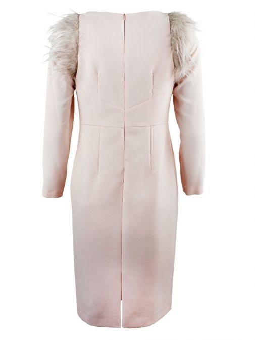 Back shot of Arggido Shift Dress in Rose Pink