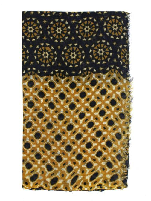 Dario Beltran Blue & Mustard Printed Scarf
