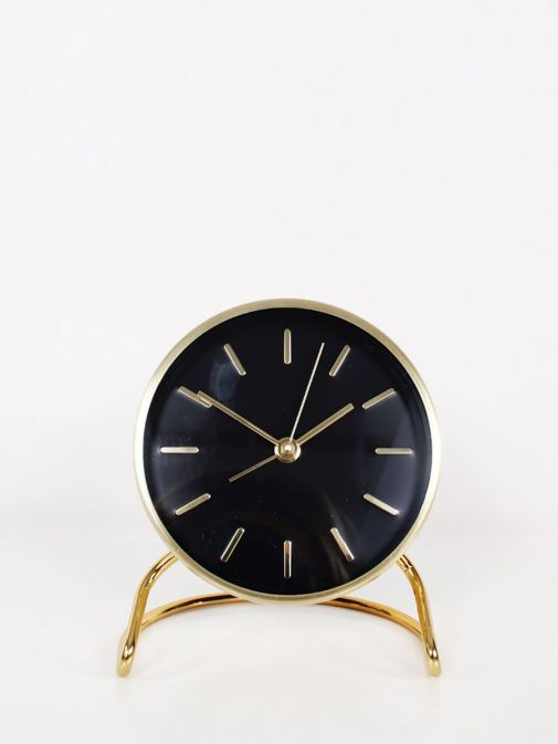 Front shot of Black and Gold Alarm Clock