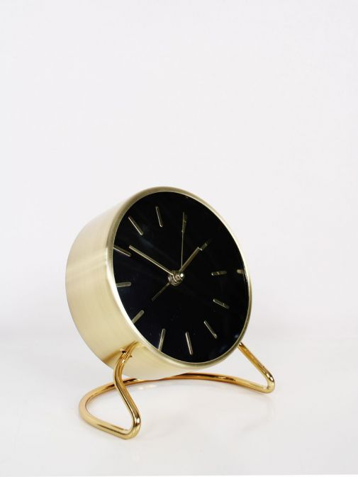 Side shot of Black and Gold Alarm Clock