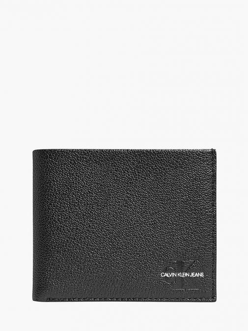 Front image of Calvin Klein Jeans Leather Billfold Wallet in Black