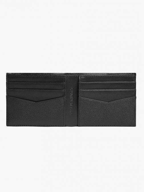 Inside image of Calvin Klein Jeans Leather Billfold Wallet in Black