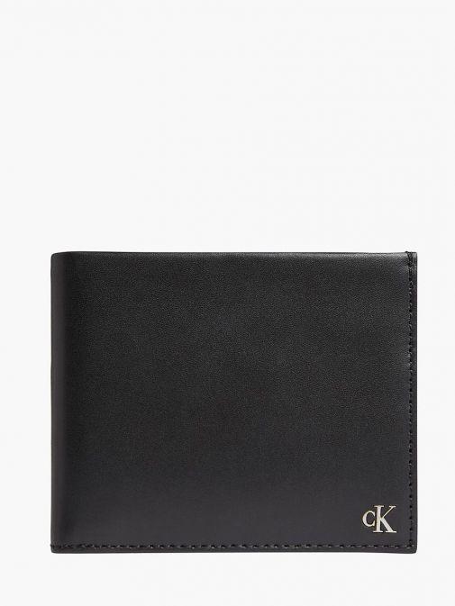 Front image of Calvin Klein Leather Billfold Wallet in Black