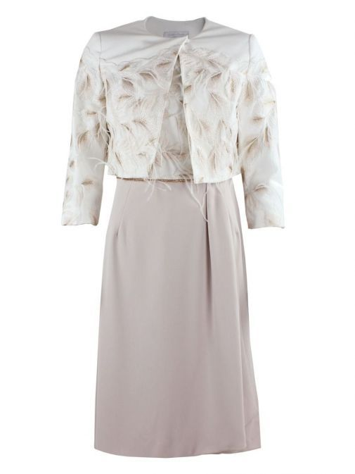 Front shot of Carla Ruiz Feather Detail Dress and Jacket Set in Cream and Nude, Style 195616
