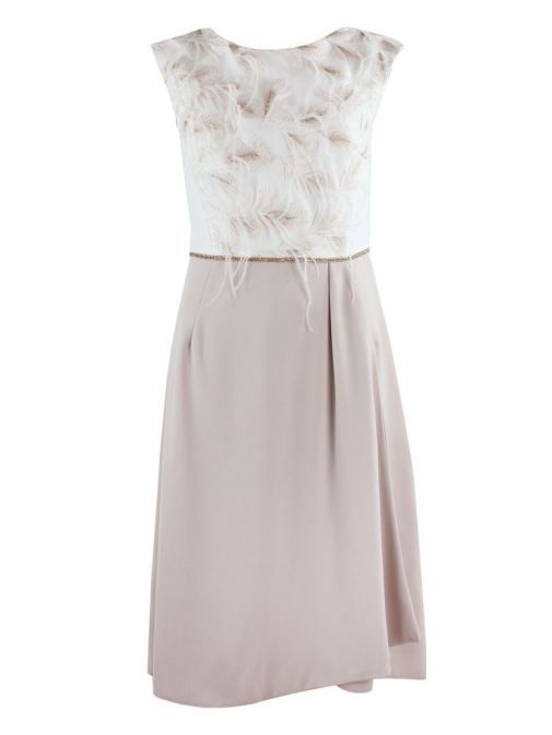 Dress only shot of Carla Ruiz Feather Detail Dress and Jacket Set in Cream and Nude, Style 195616