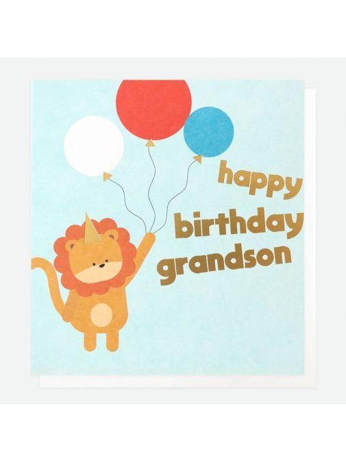 Front shot of the Caroline Gardner Lion Birthday Card For Grandson