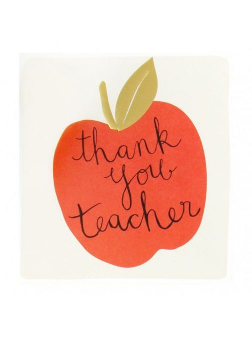 Front shot of the Caroline Gardner Red Apple Thank You, Teacher Card
