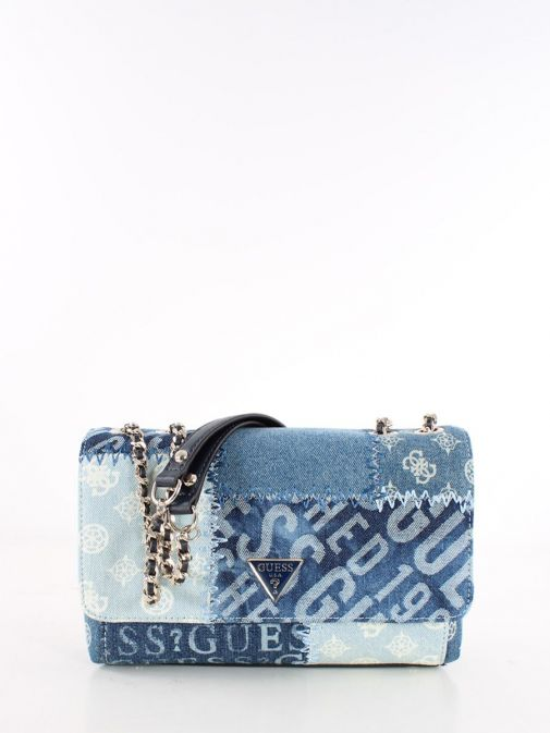 Front image of Cessily Denim Crossbody Bag in Blue Multi