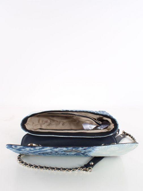 Image of inside of Cessily Denim Crossbody Bag in Blue Multi