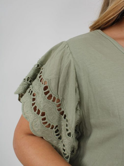 closeup shot of the Cilento Woman Broderie Butterfly Sleeve Dress in the green colour featuring broderie short sleeves, rounded neckline