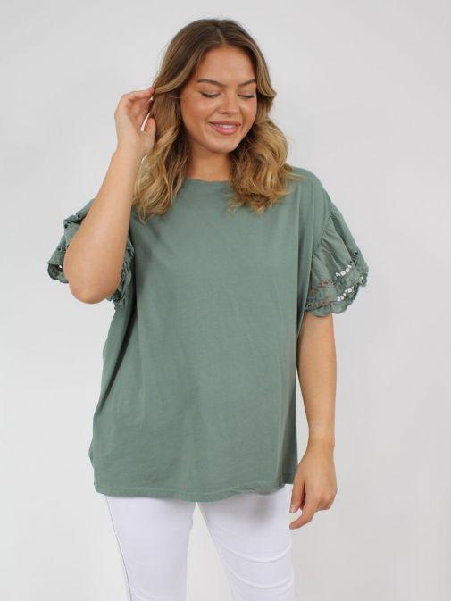 Alternative picture of model wearing Cilento Woman Broderie Butterfly Sleeve Top in Khaki Green
