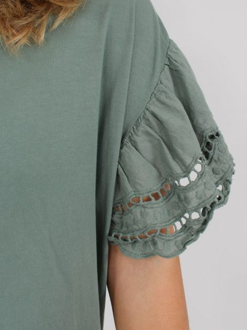 Close up of sleeve of Cilento Woman Broderie Butterfly Sleeve Top in Khaki Green
