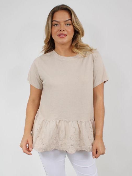 Alternative pic of model wearing Cilento Woman Broderie Frill Hem Top in Beige