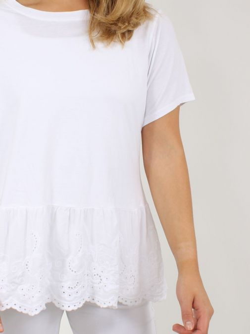 Close up of Cilento Woman Broderie Frill Hem Top in White