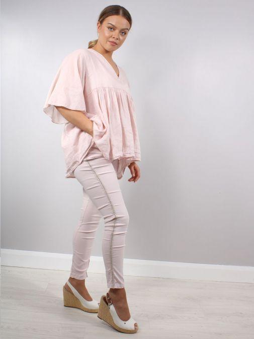 Full shot of Model wearing Cilento Woman Diamante Denim Joggers in Pink