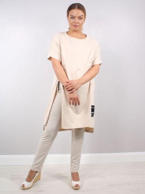 Model wearing Cilento Woman Drawstring Tunic in Beige