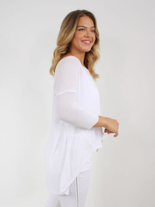 Image showing back of Cilento Woman Fine Knit Sweater in White