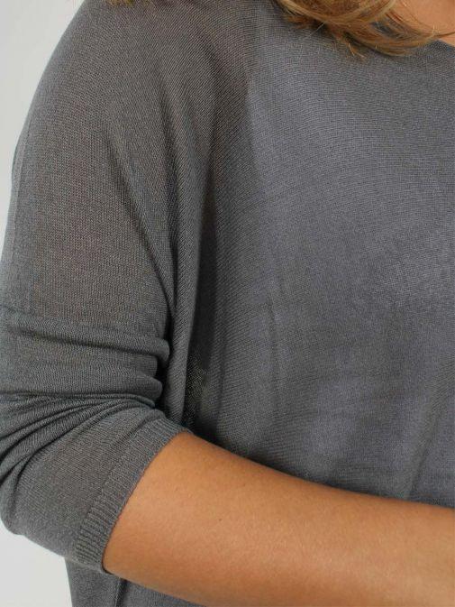 Close up of model wearing Cilento Woman Fine Knit Sweater in Grey