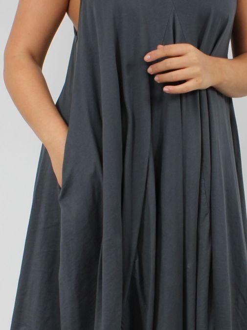 close up shot of model wearing Cilento Woman Hanky Midi Dress in Grey