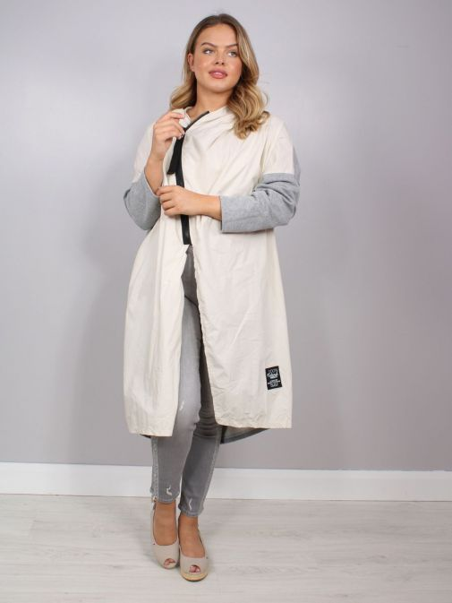 Front shot of the Cilento Woman Hooded Longline Jacket in the Cream and Grey featuring black zip, long sleeves and hood