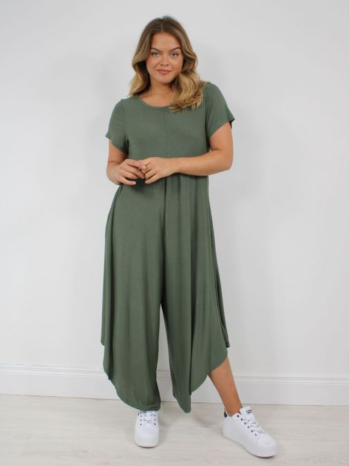 Front on Picture of Model wearing Cilento Woman Jersey Jumpsuit in Green
