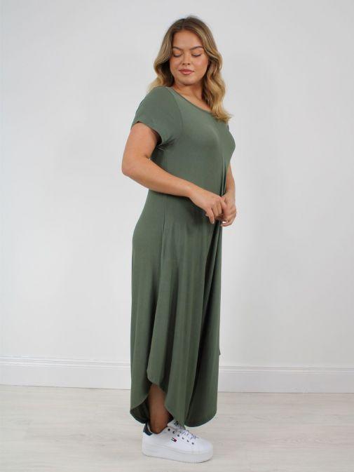 Side shot of Model wearing Cilento Woman Jersey Jumpsuit in Green