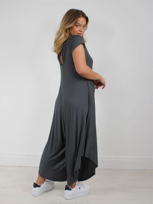 Shot from behind of model wearing Cilento Woman Jersey Jumpsuit in Grey