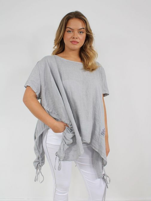 Front shot of the Cilento Woman Linen Drawstring Top in the Grey colour featuring short sleeves, rounded neckline, pull cords to each side