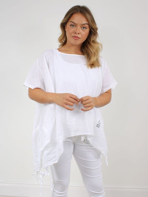 Front shot of the Cilento Woman Linen Drawstring Top in the White colour featuring short sleeves, rounded neckline, pull cords to each side