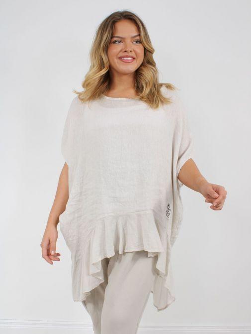 Alternative shot of Model wearing Cilento Woman Linen Frill Hem Tunic in Beige