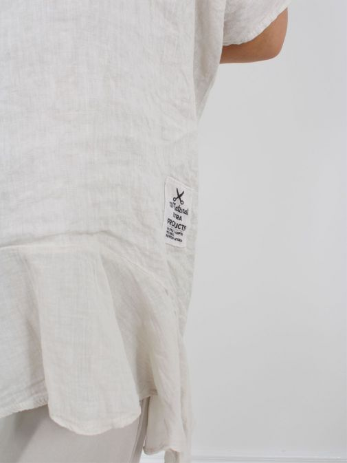 Close up of Cilento Woman Linen Frill Hem Tunic in Beige