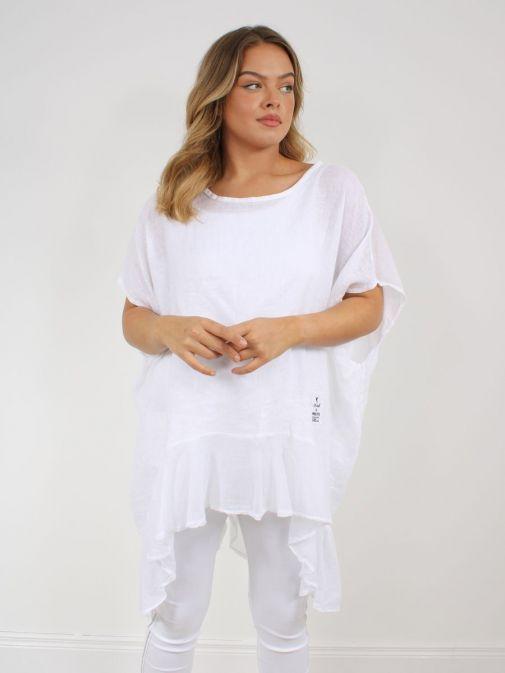 Alternative picture of model wearing Cilento Woman Linen Frill Hem Tunic in White