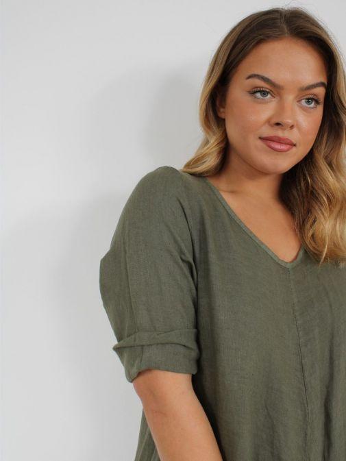 Close up of Model wearing Cilento Woman Linen Jumpsuit in Khaki Green