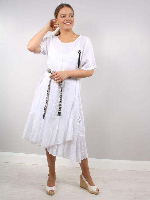 Model wearing Cilento Woman Linen Midi Dress in White