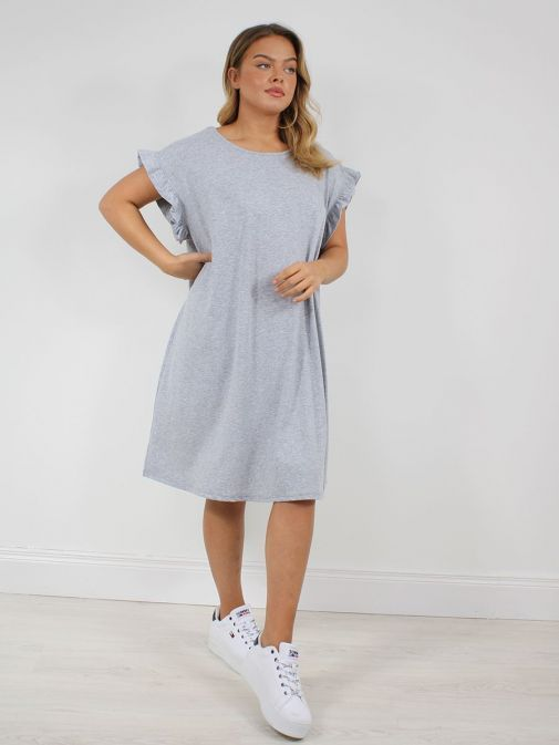 Front shot of the Cilento Woman Ruffle Sleeve Dress in the Grey colour featuring ruffle sleeves, rounded neckline, midi lenght