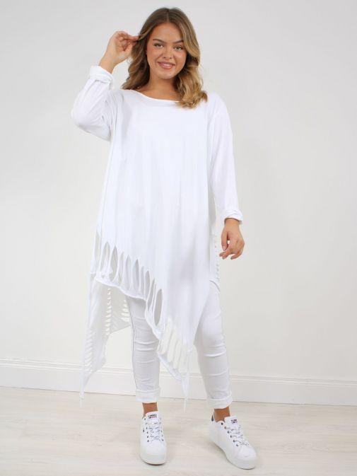 Model wearing Cilento Woman Slash Detail Tunic in White
