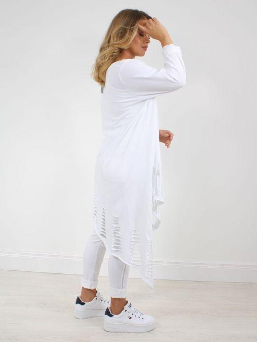 Back of Model wearing Cilento Woman Slash Detail Tunic in White