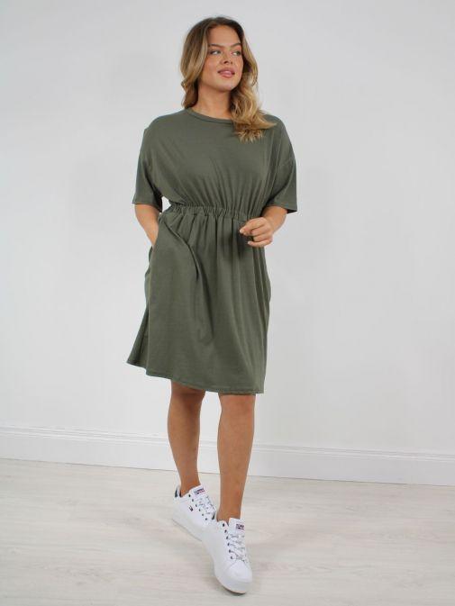 Model wearing Cilento Woman T-Shirt Dress in Khaki Green