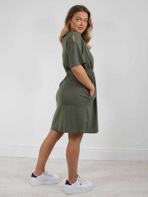 Shot from back of model wearing Cilento Woman T-Shirt Dress in Khaki Green